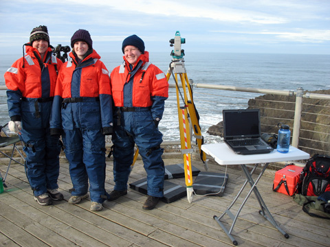 Gray Whale Observers Standing Near Equipment