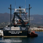 Research Vessel Pacific Storm tied up at the Santa Barbara marina