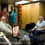 John Calambokidis, Erin Oleson, Bruce Mate, and Mary Lou Mate in the dry lab on the Pacific Storm