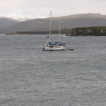 The Research Vessel Evohe at anchor - Port Ross - Auckland Islands