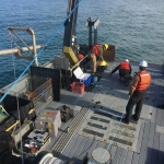 Pacific Storm setting anchor for wave energy buoy