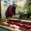 whale meat on display in ice case