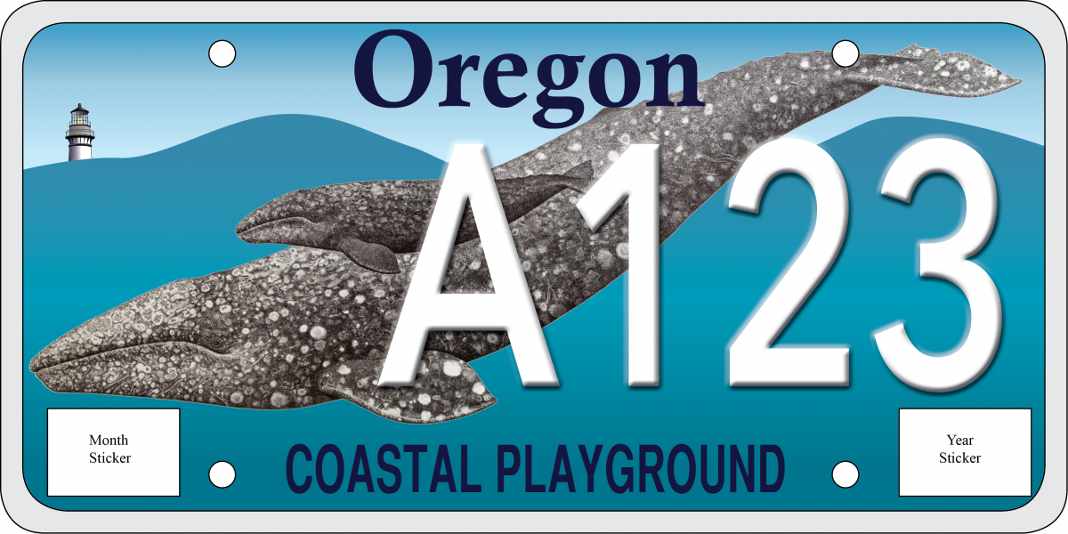 sample proposed State of Oregon license plate with whales